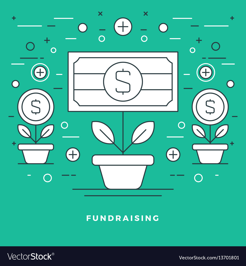 Flat line fundraising and financial growth concept