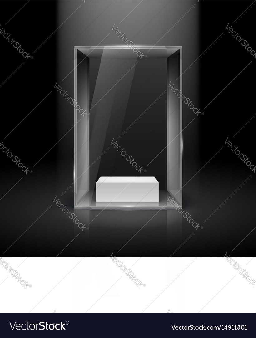 Glass showcase with spot light for presentation