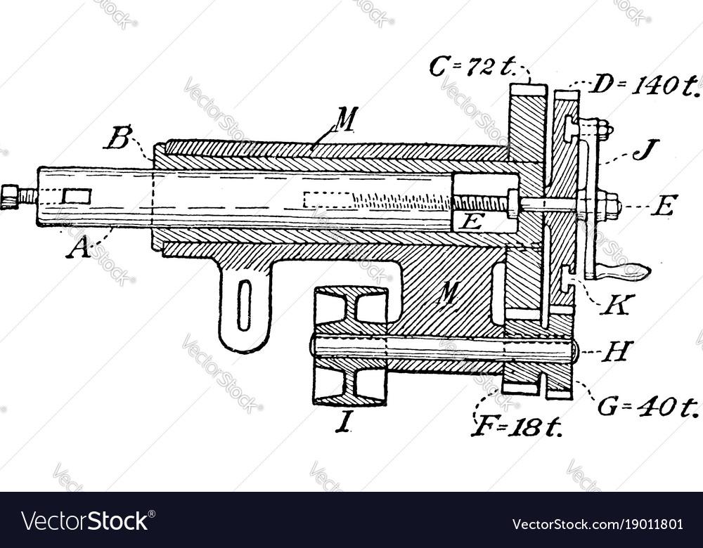 Hand crank lathe boring rod vintage vector image