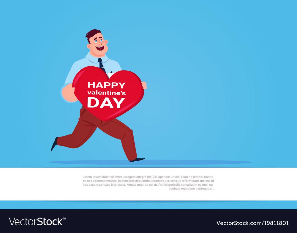 Man run holding big heart shaped greeting card vector image m4hsunfo