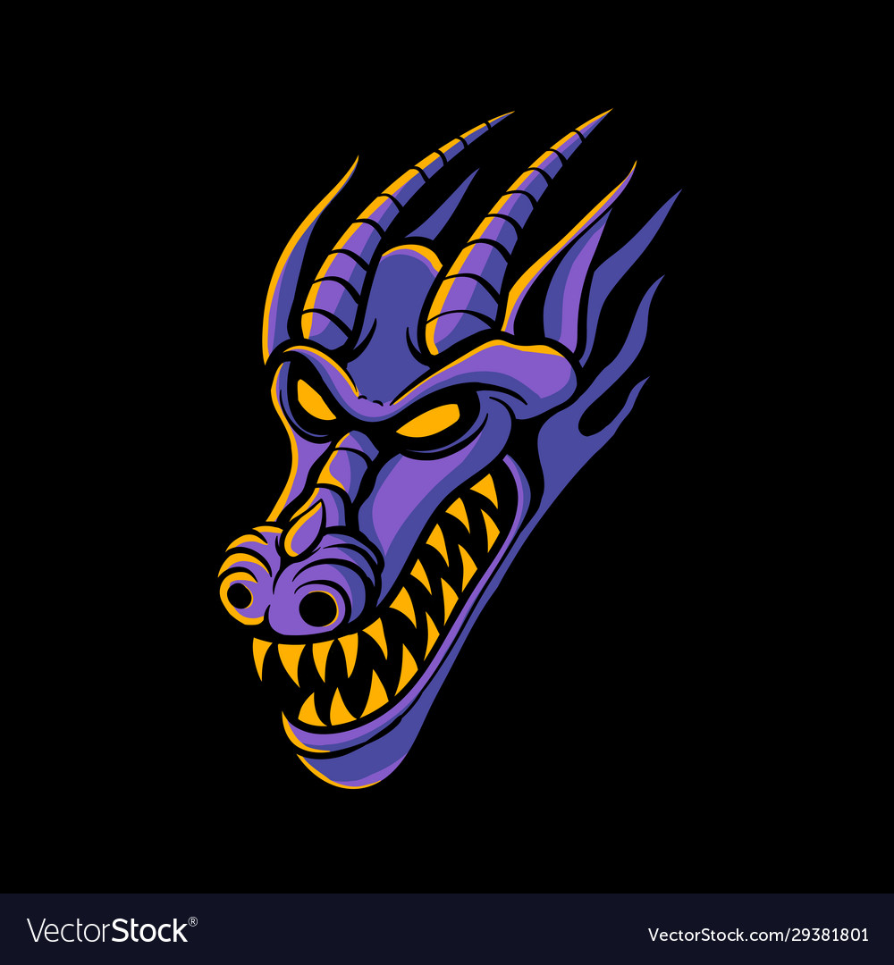 Purple dragon head logo design