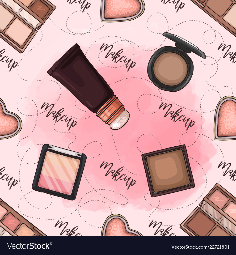 Seamless pattern of color set makeup products