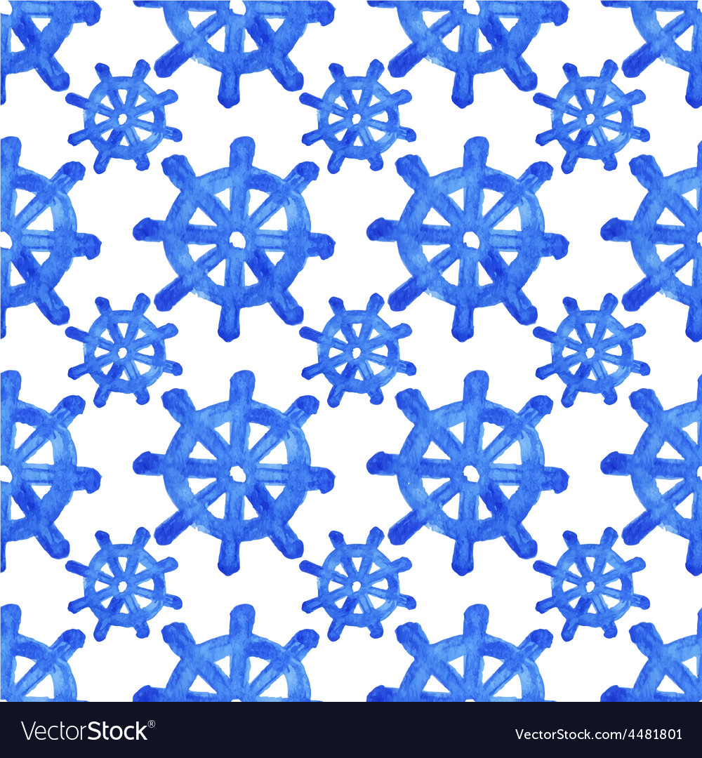 Seamless watercolor pattern with helms on the vector image