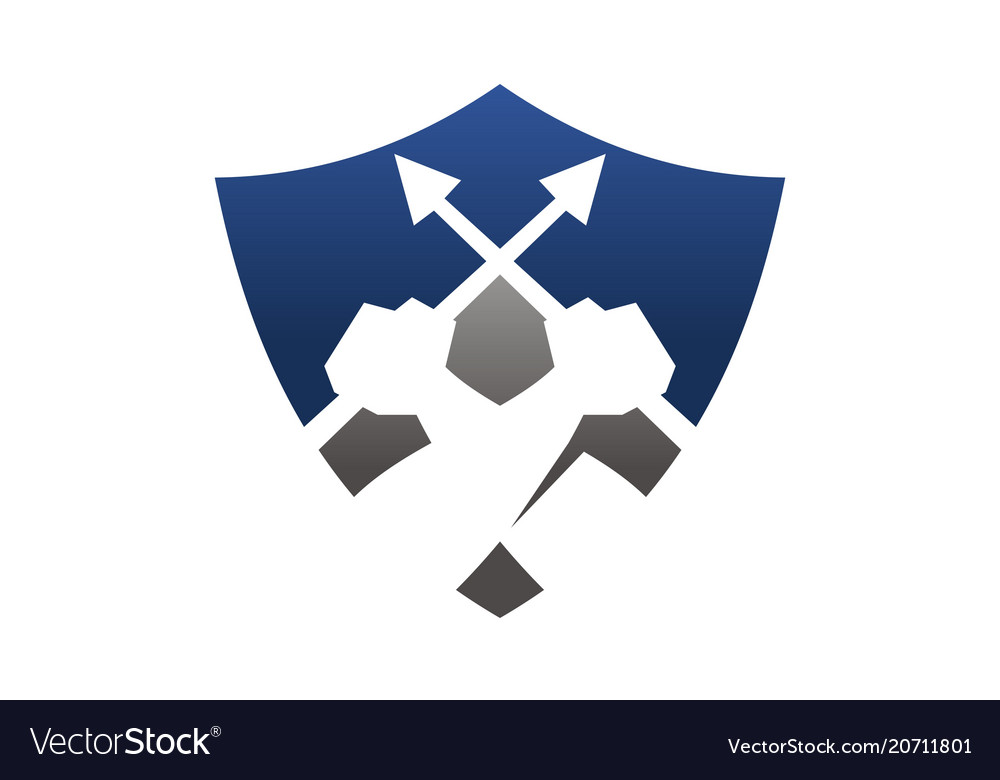 Shield hand hold lance vector image