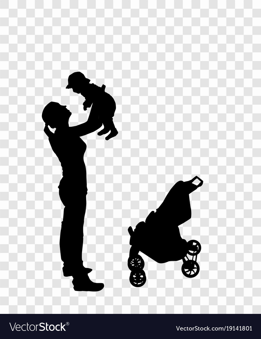 Sticker to car silhouette of mother with child