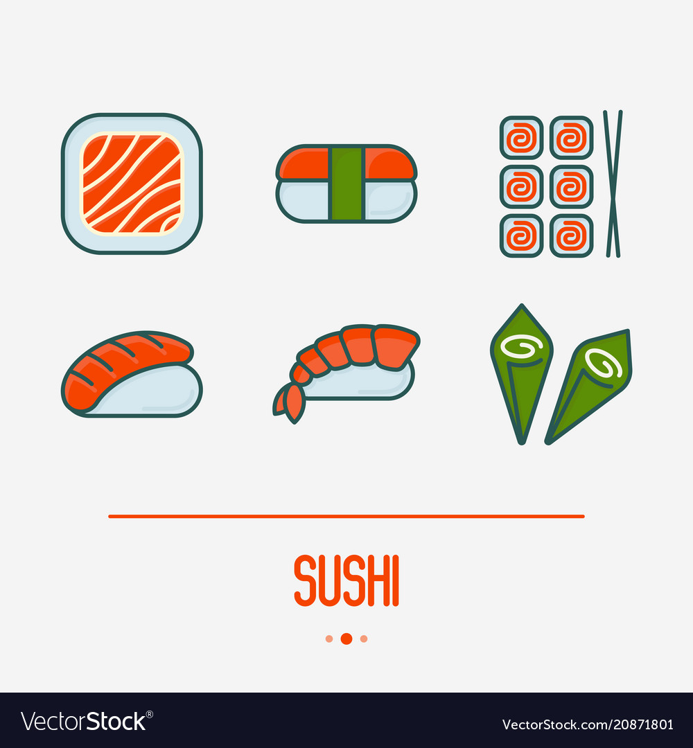 Sushi and rolls thin line icons set