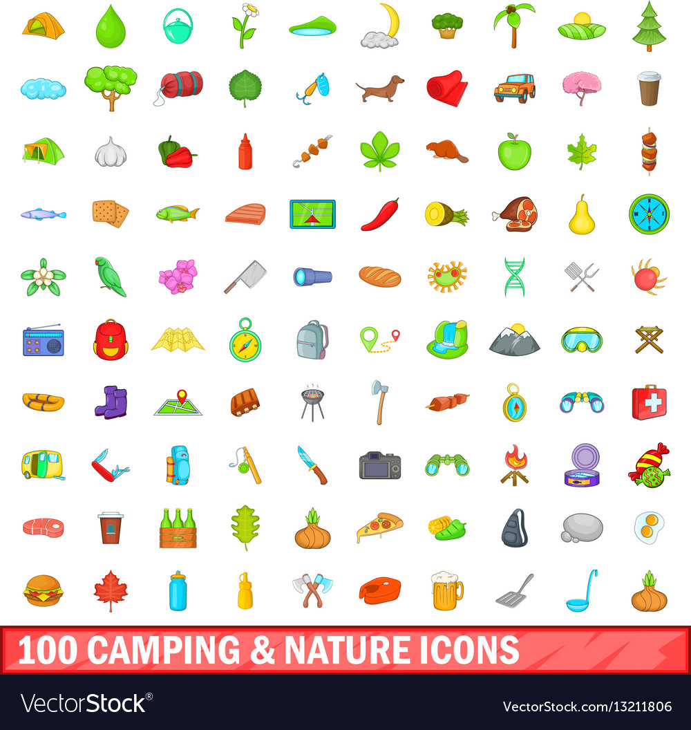 100 camping and nature icons set cartoon style