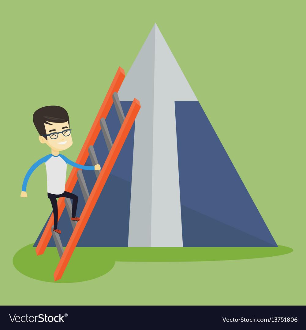 Business man climbing on mountain