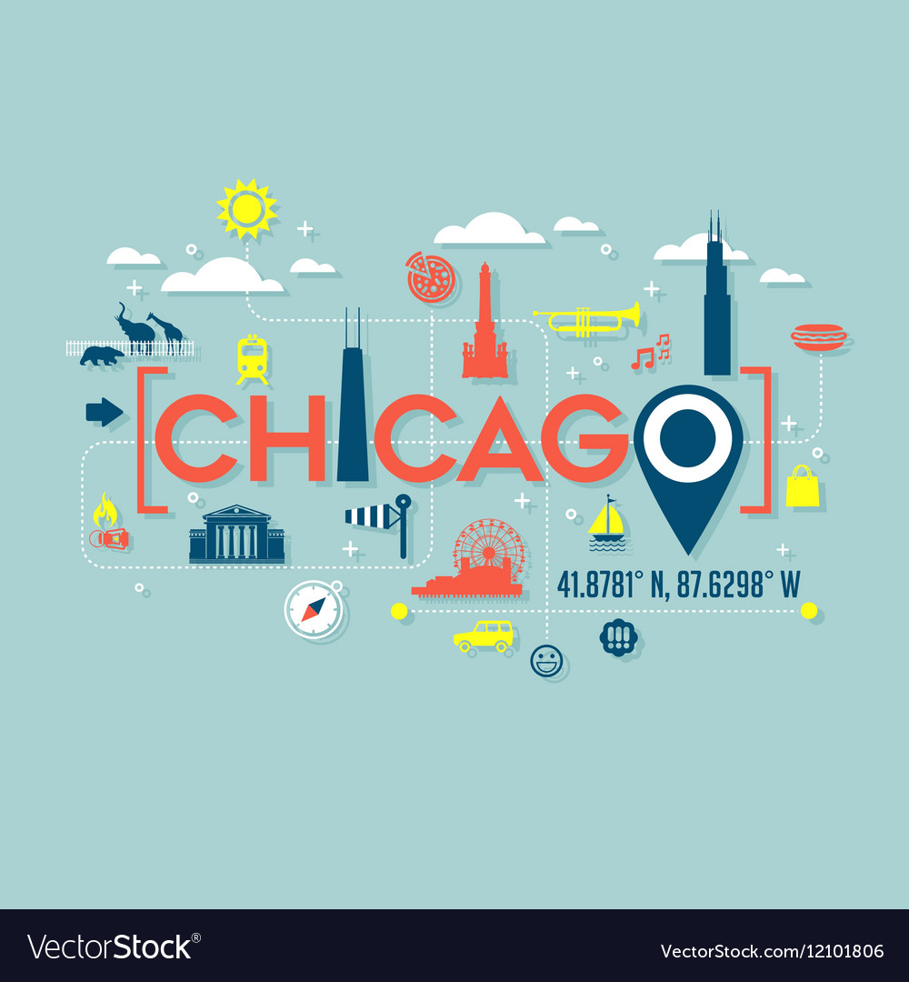 250ddd68 Chicago icons and typography design Royalty Free Vector