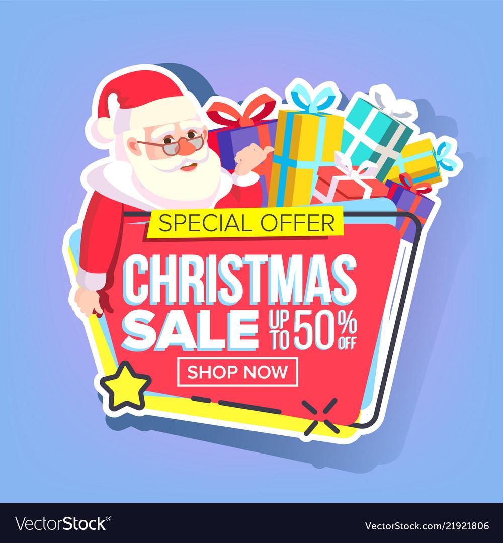 Christmas sale sticker santa claus