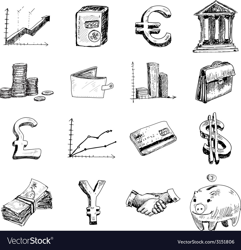 Finance icons set sketch