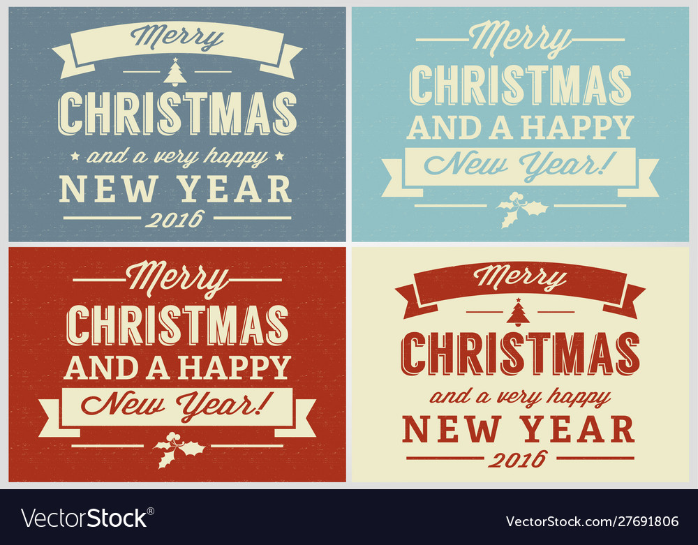 Merry christmas retro label set