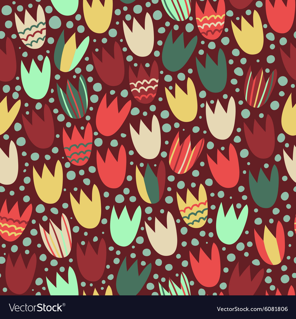 Seamless pattern with stylized tulips