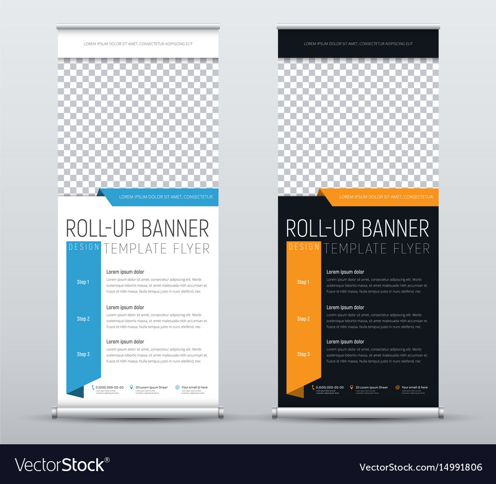 Set of roll up banners for business templates of
