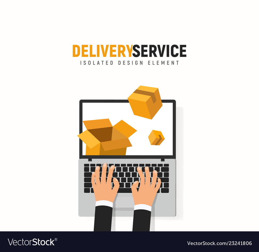 Tracking parcel online service laptop hands and