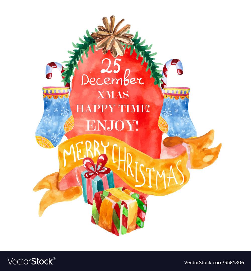 Watercolor beautiful Christmas card