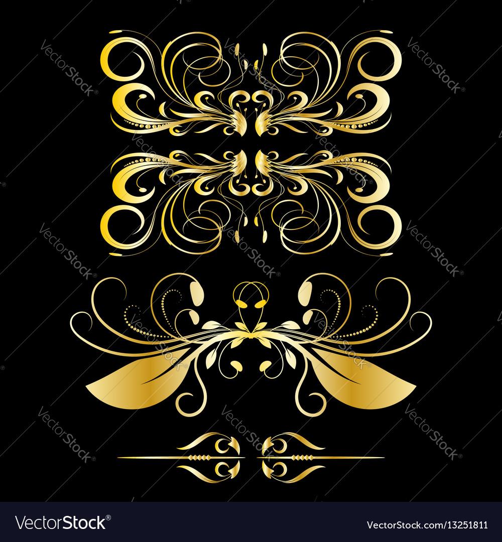 Color gold vintage decorations elements black