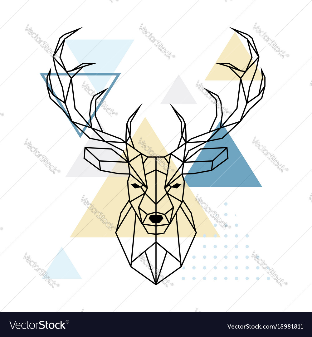 Deer polygonal head scandinavian style