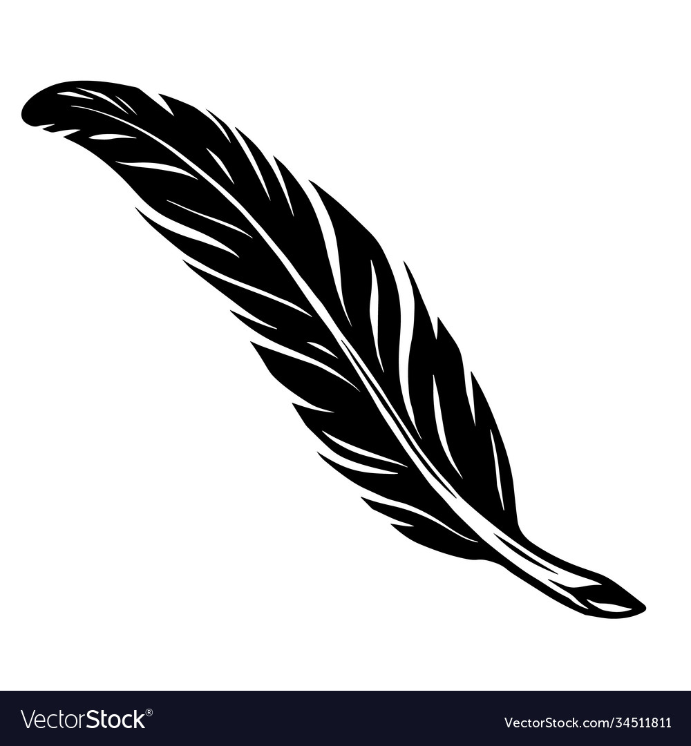 Elegant vintage feather tattoo concept
