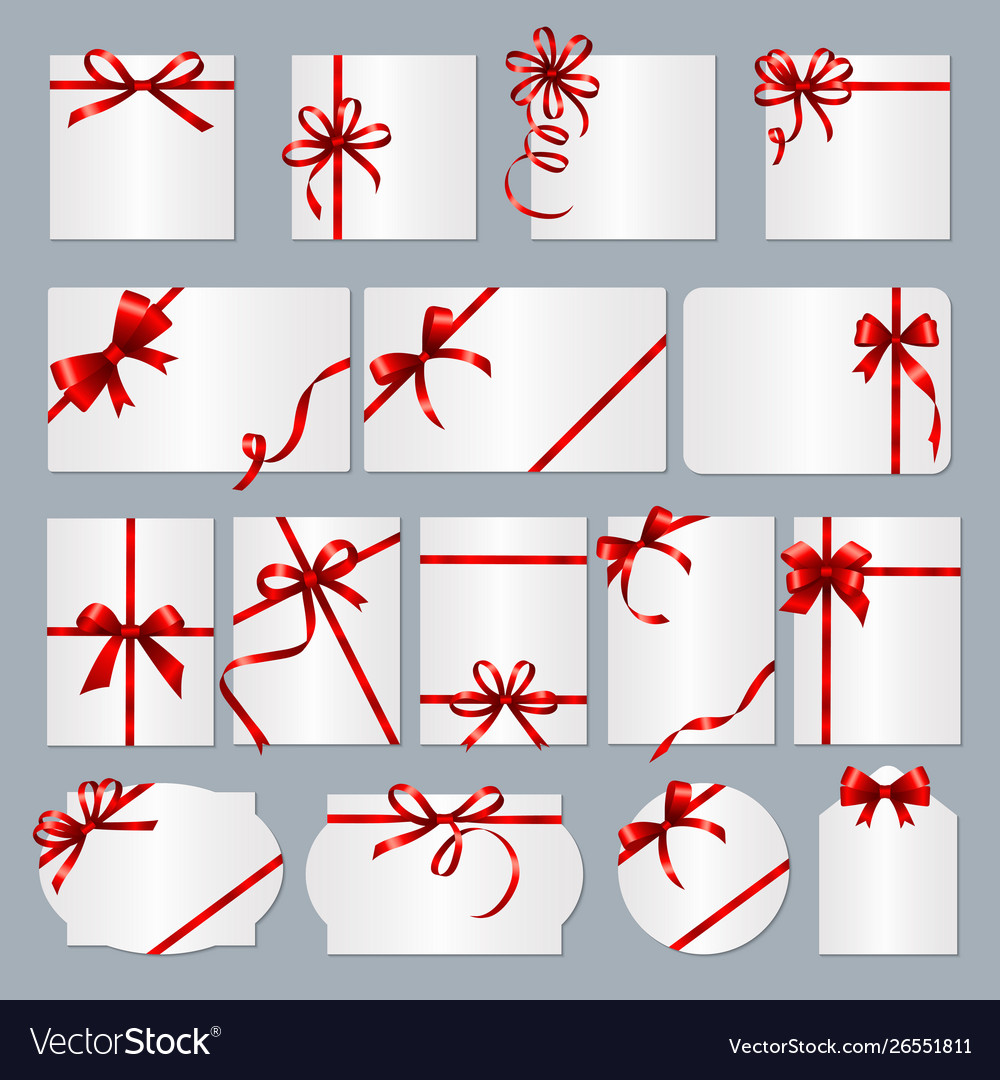 Gift card frames red ribbons gift banners