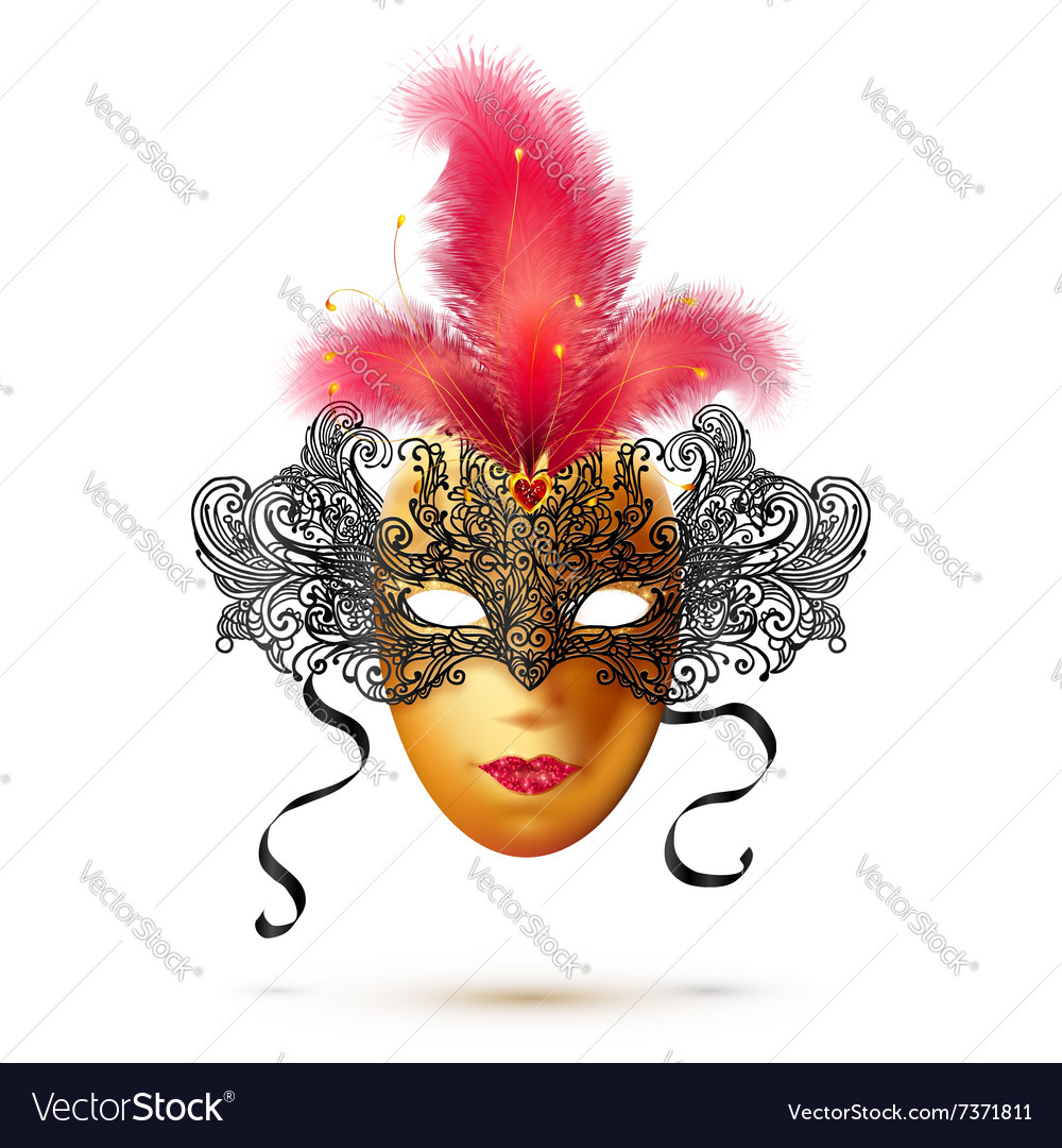 Golden and black ornate carnival mask with bright