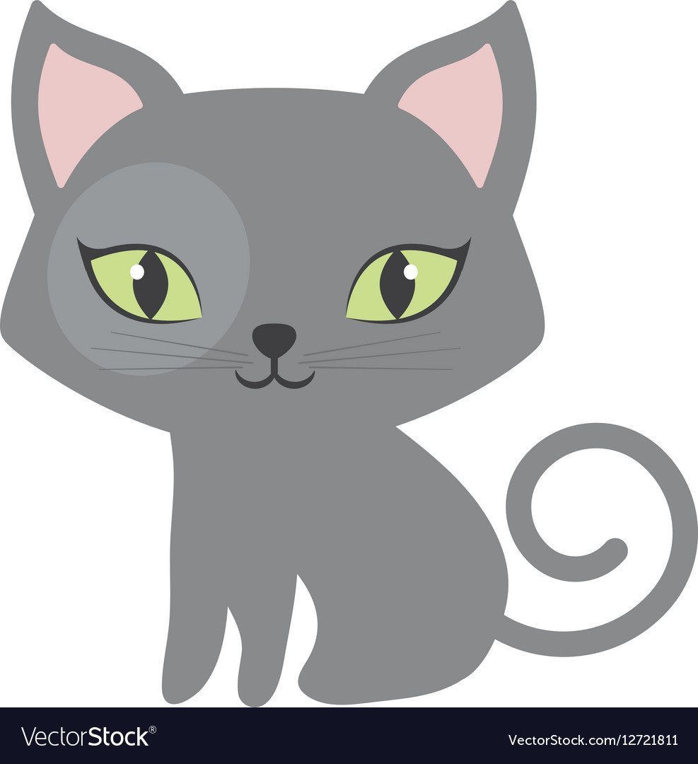 Gray small cat sitting green eyes tail spiral vector image
