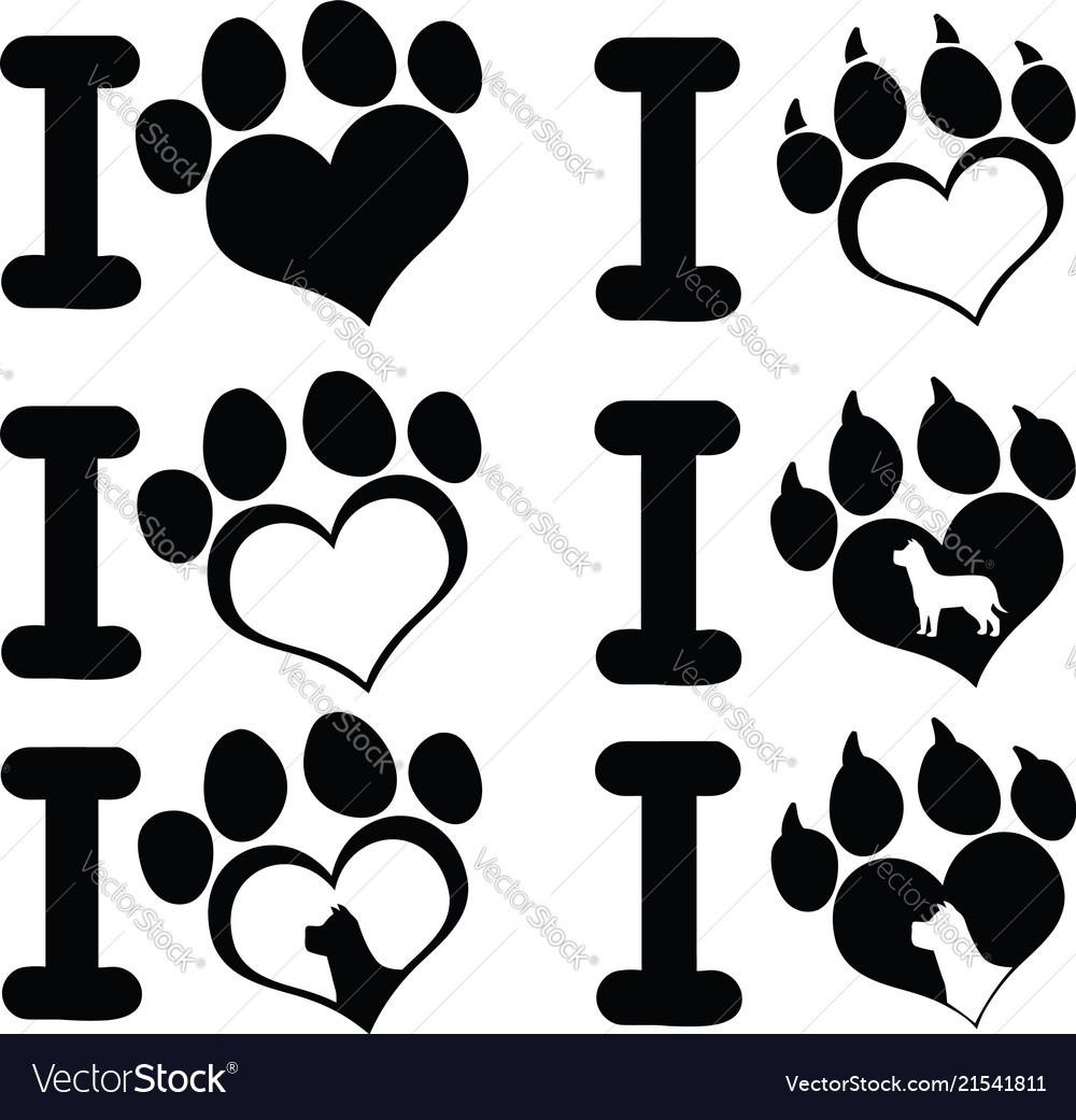 I love paw print logo design 02 collection