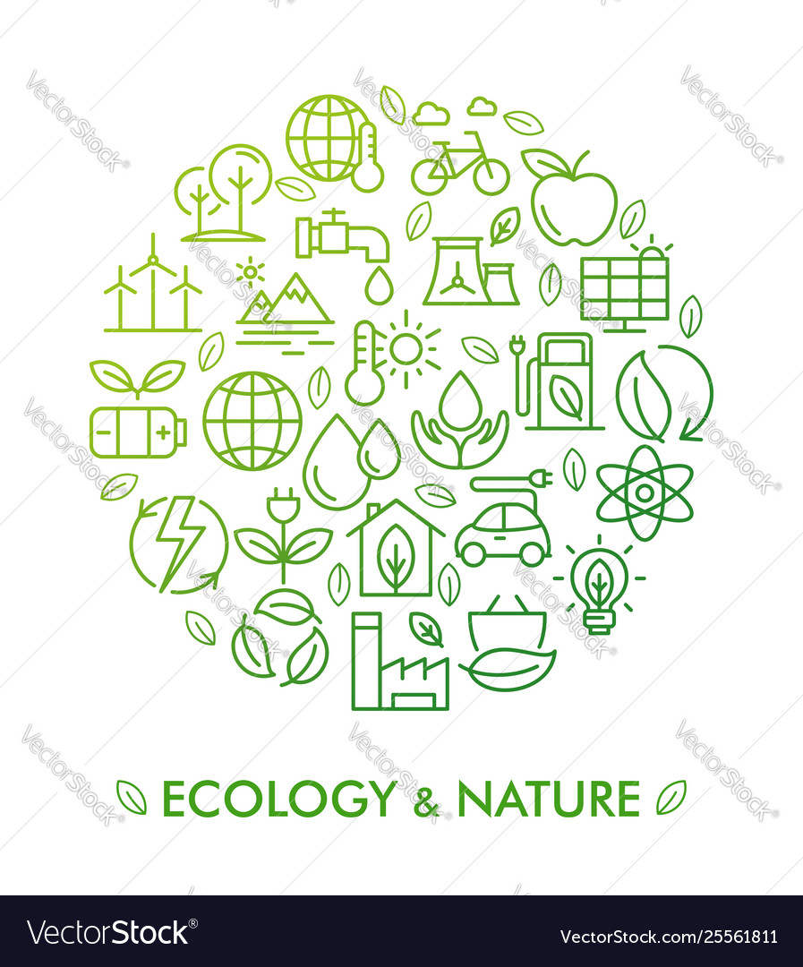 Icon set ecology nature and zero waste
