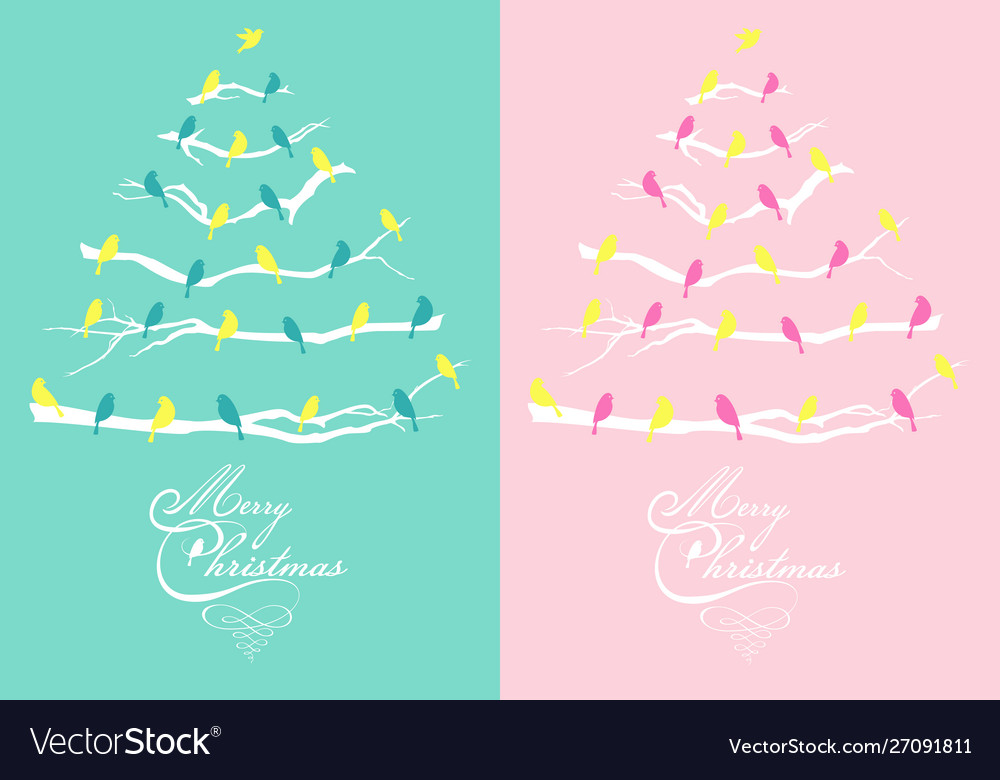 Pink and teal christmas cards with trees and birds