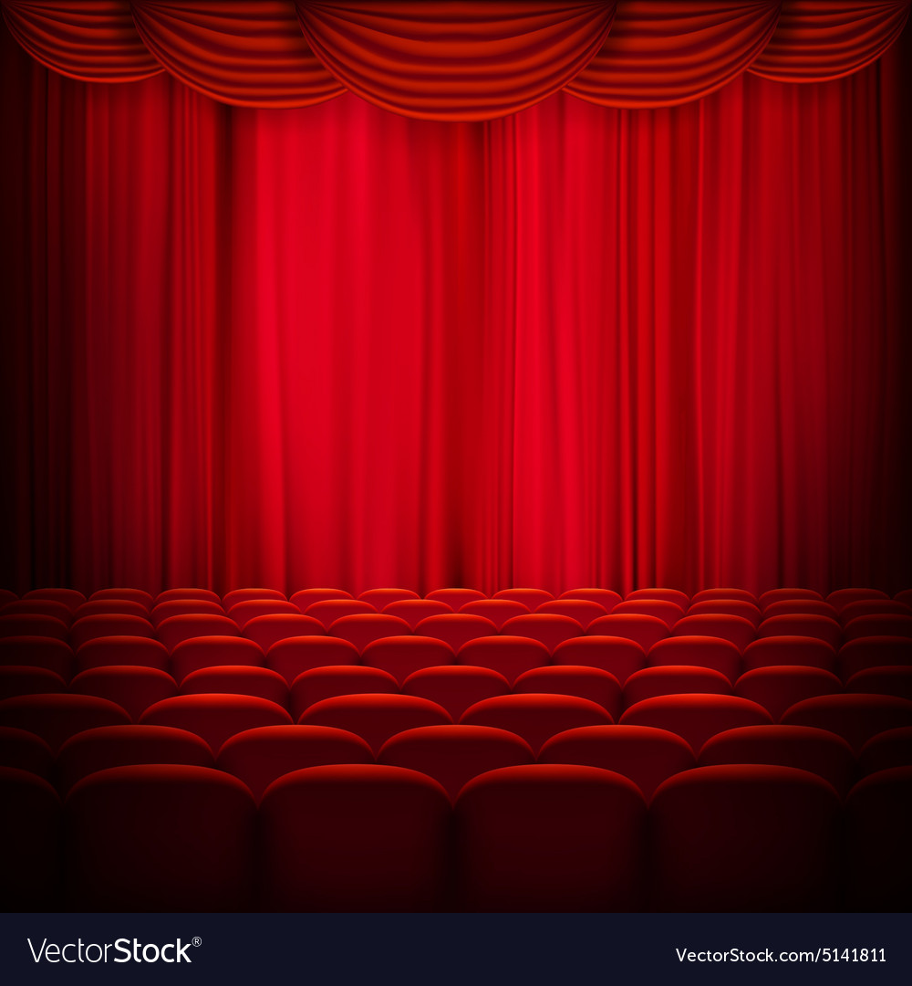 Red curtain template EPS 10 vector image