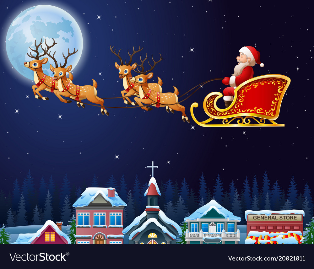 Santa claus riding his reindeer sleigh flying over