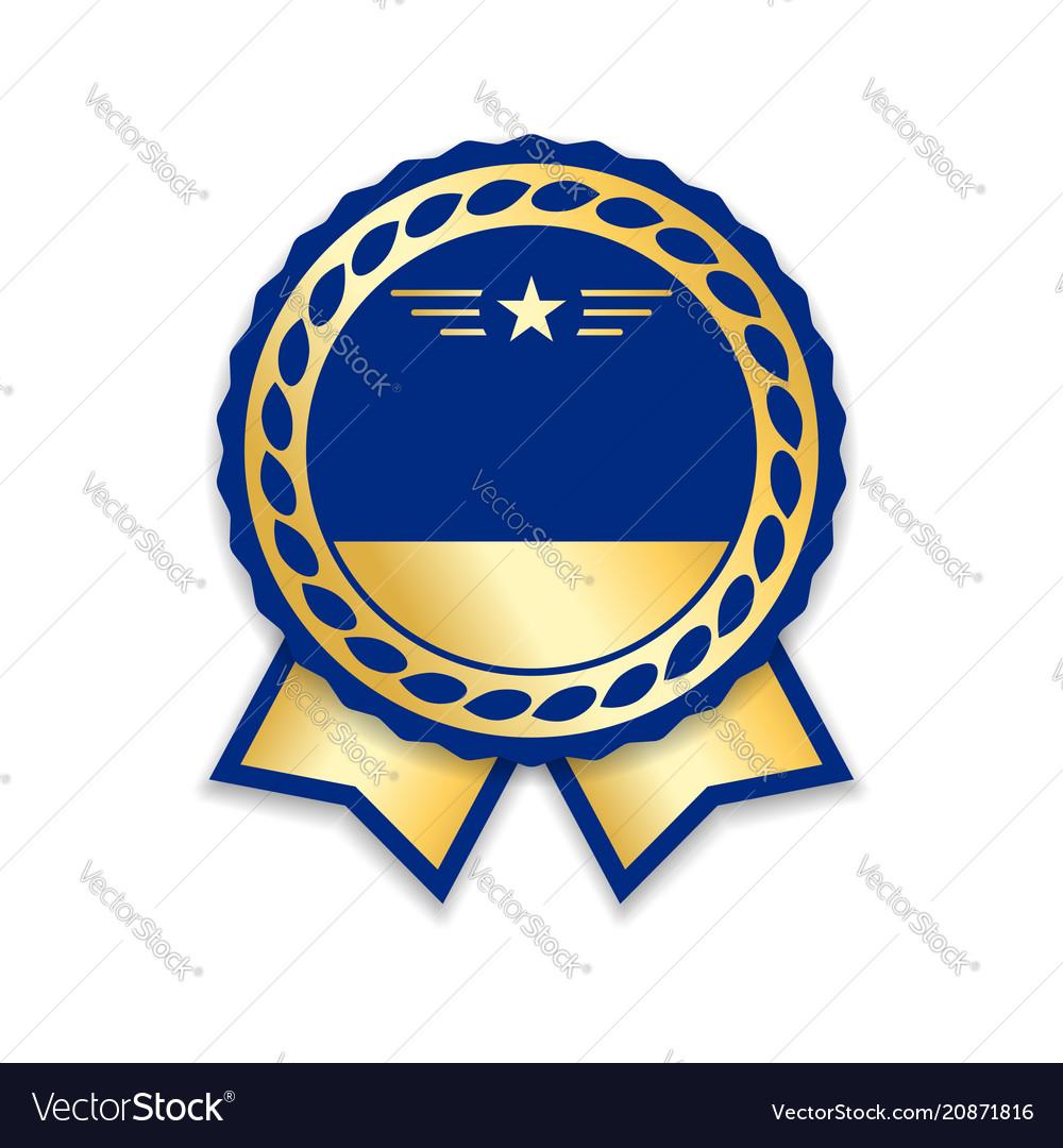 Award ribbon isolated gold blue design medal