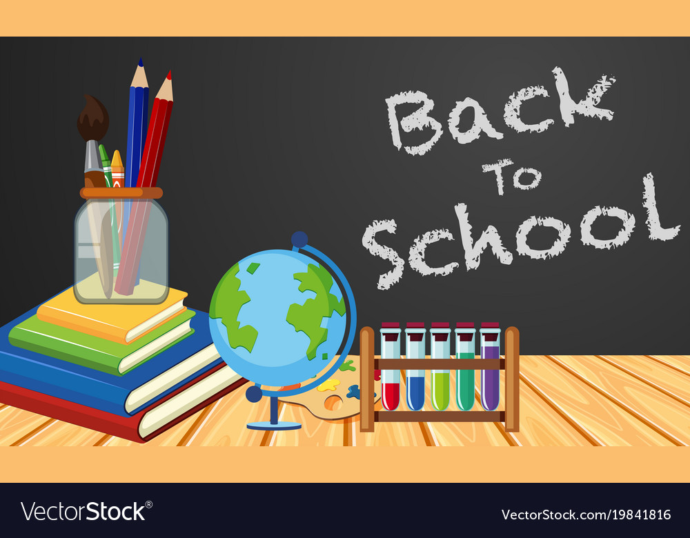 Back to school poster design with objects in