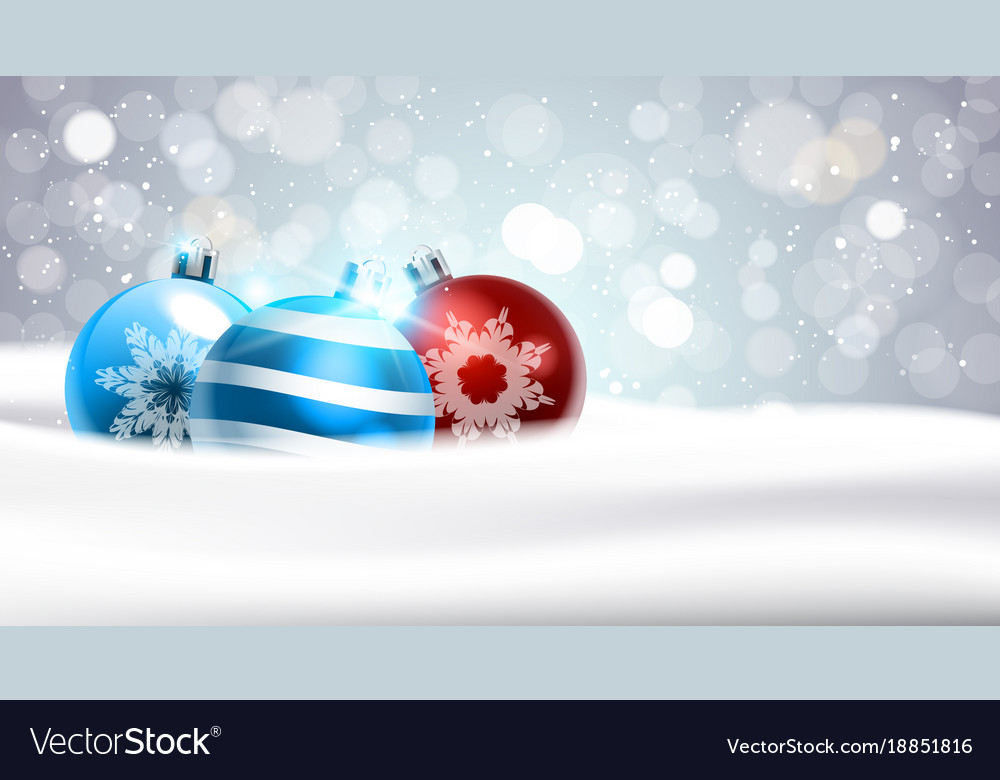 Christmas background with coloful balls in snow