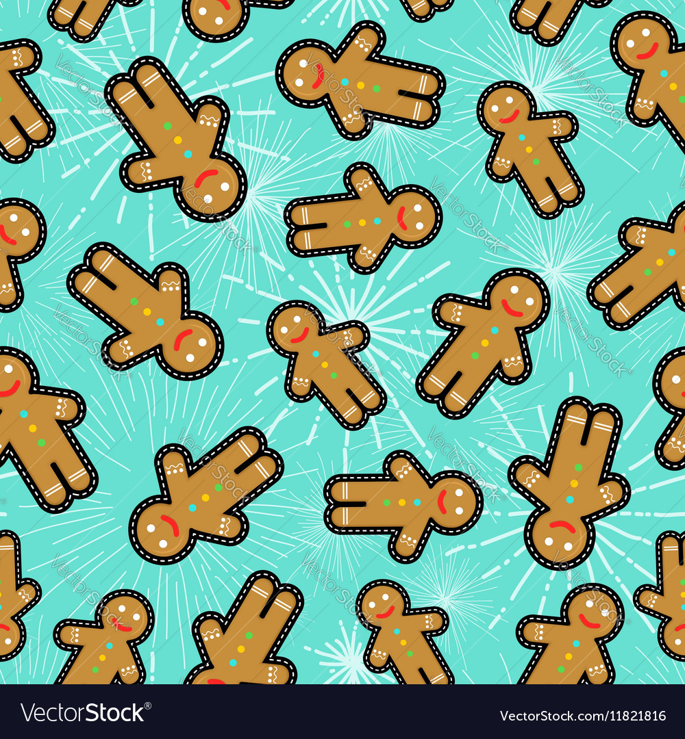 Christmas gingerbread man patch icon pattern