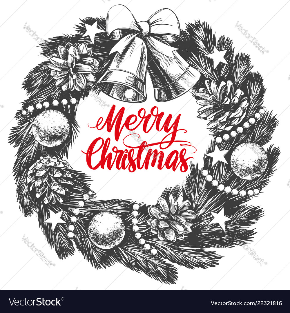 Christmas wreath calligraphy lettering text symbol