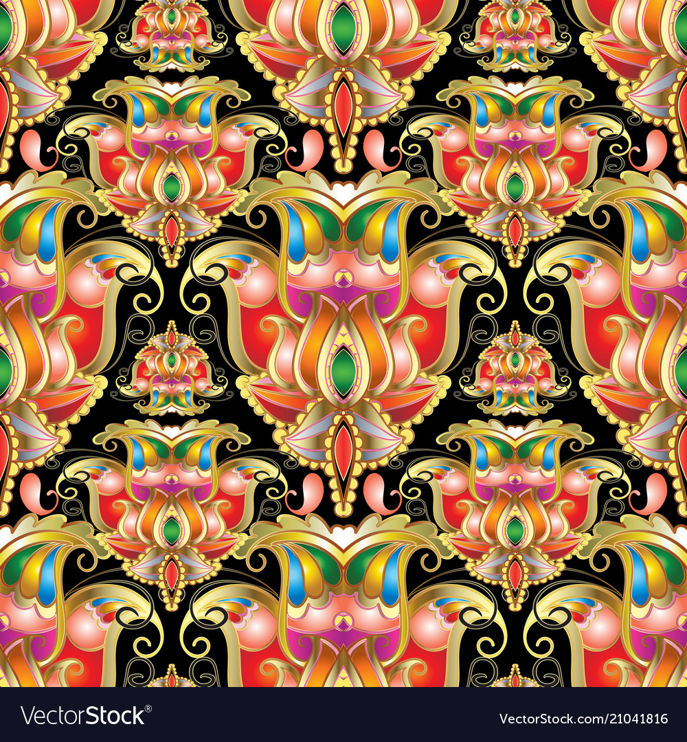 Ethnic style colorful paisley seamless pattern