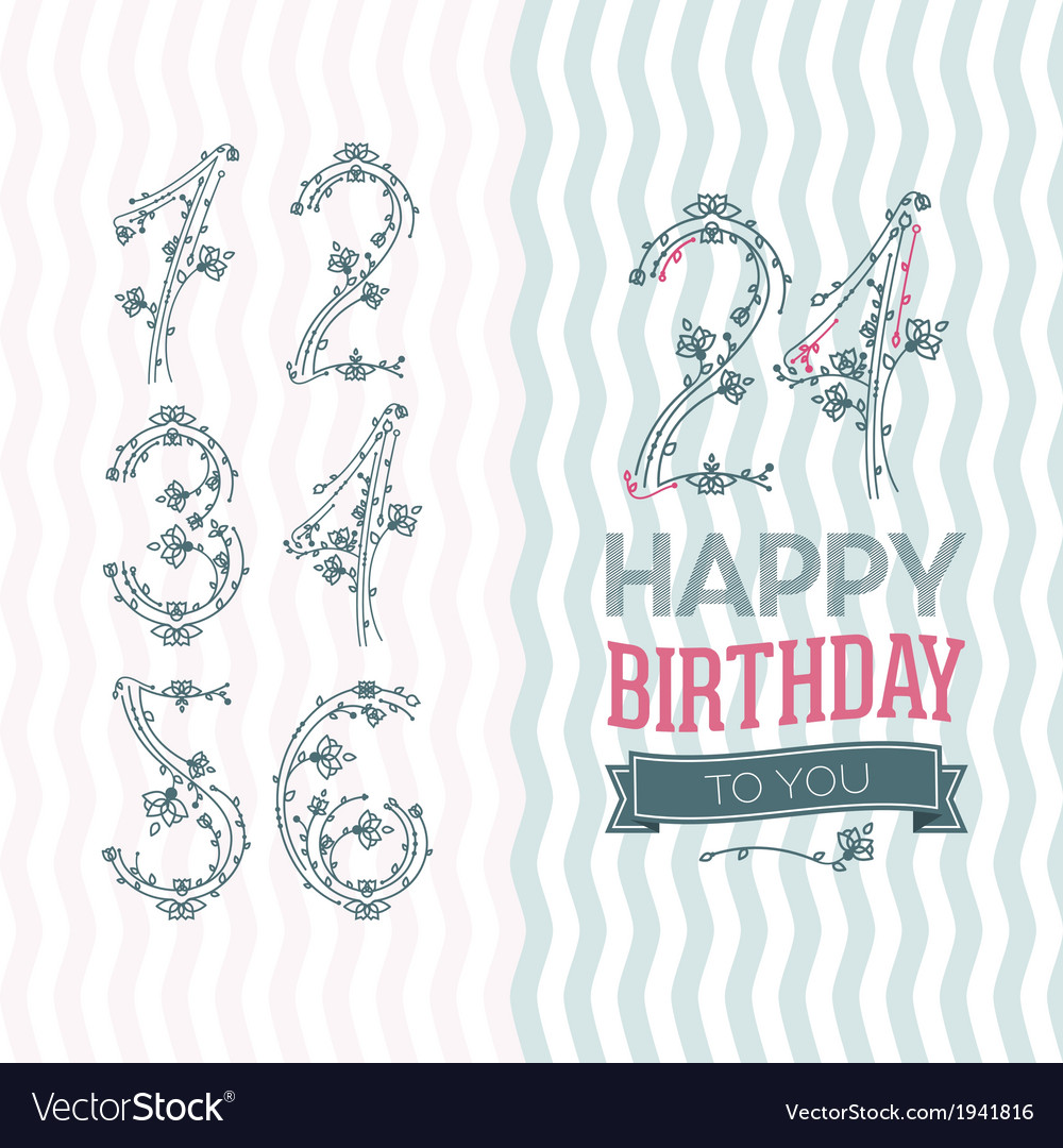 Flower numbers birthday set vector image