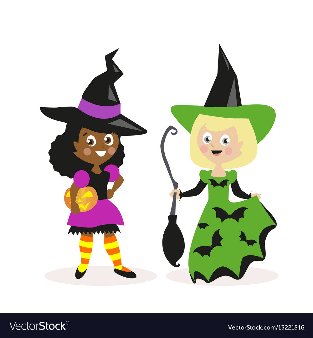 Girls dressed as a witch with a broom and pumpkin