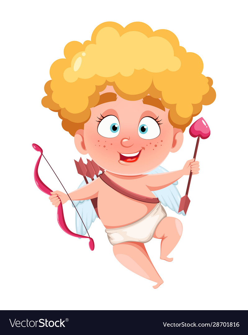 Happy Valentines Day Funny Cupid Kid Royalty Free Vector