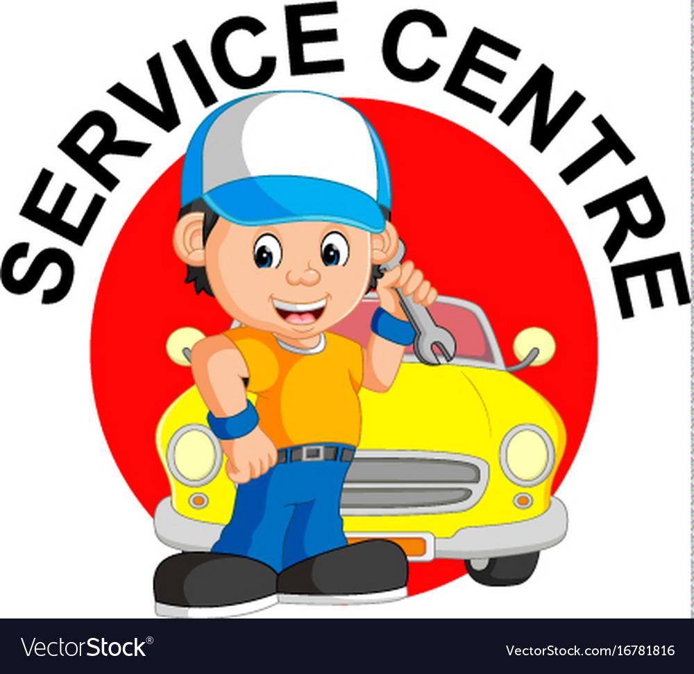 Mechanic repairs car