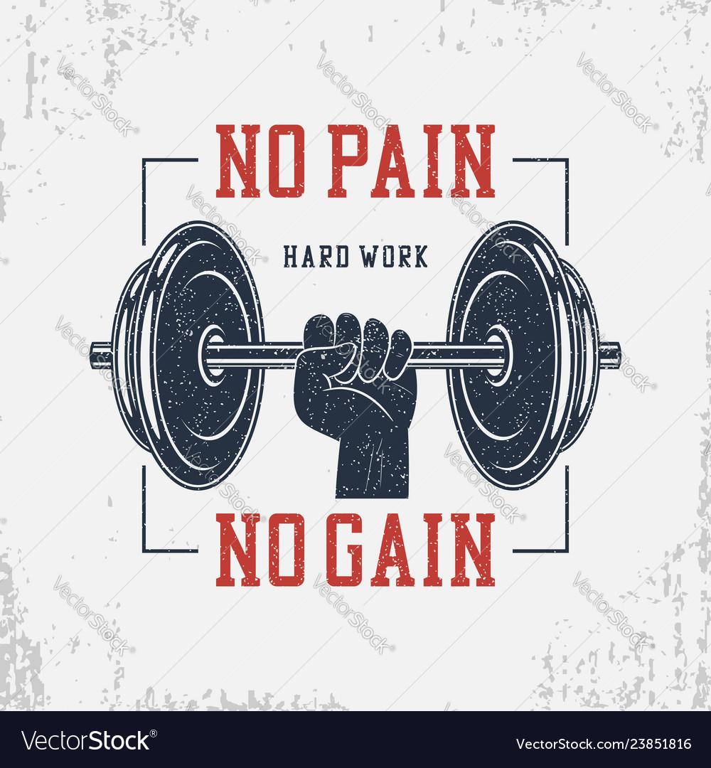 No Pain No Gain T Shirt Set Royalty Free Vector Image