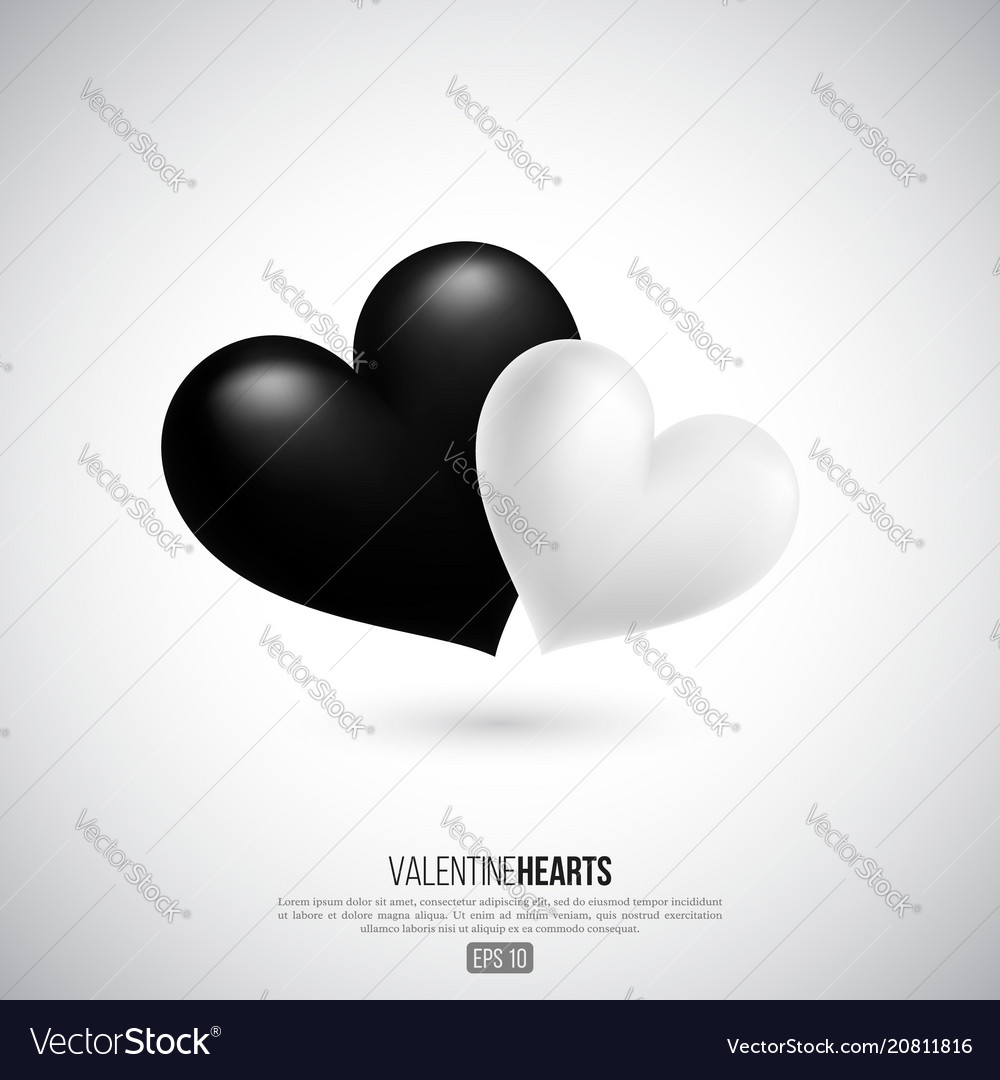 Realistic 3d valentine hearts vector image