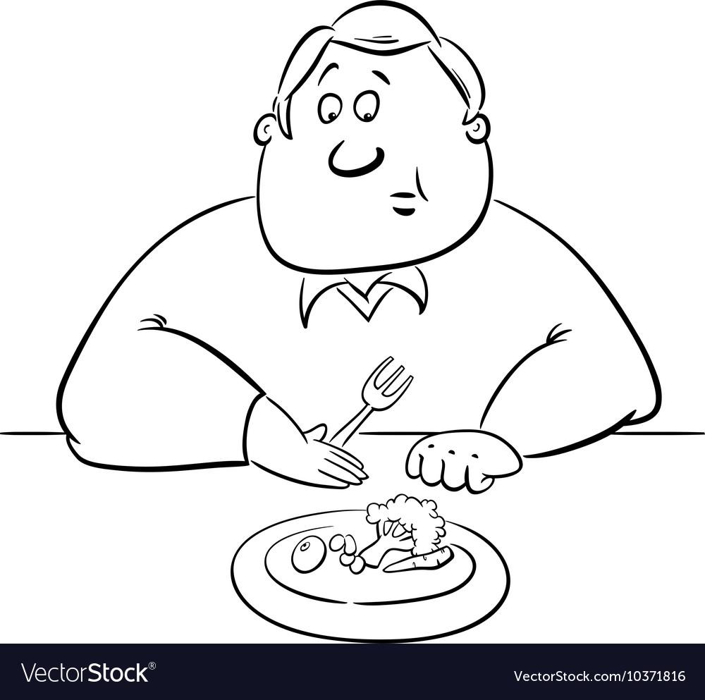 Sad man on diet drawing