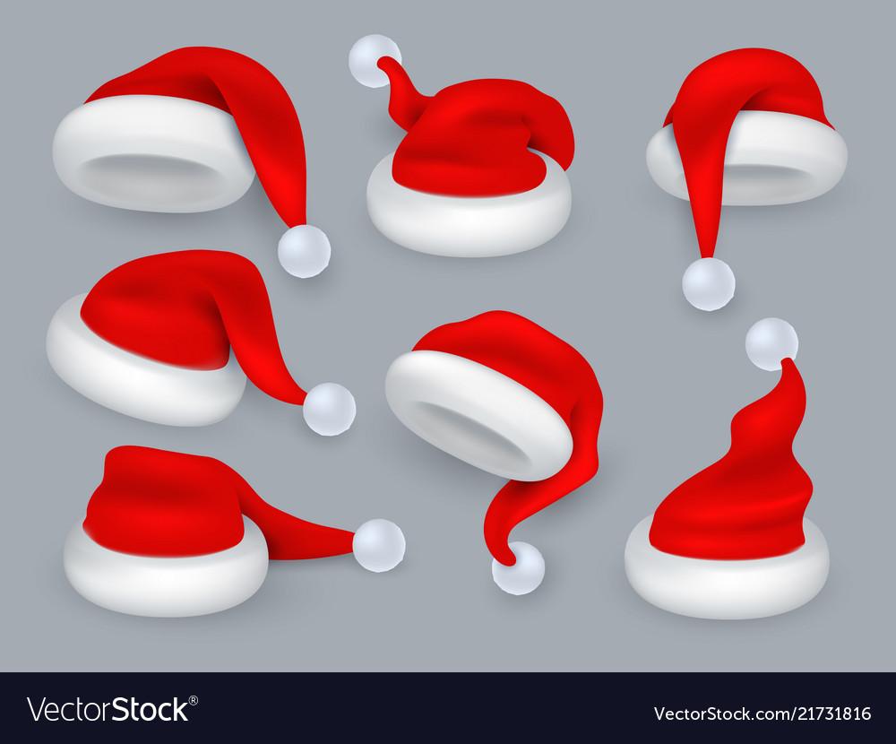 Santa hats christmas 3d santa claus hat winter Vector Image fccb6c907fac