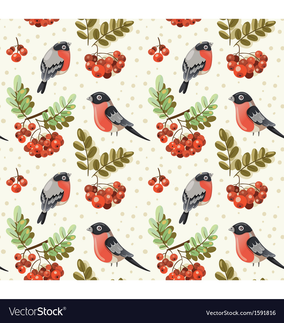 Seamless autumn pattern with bullfinch and rowan