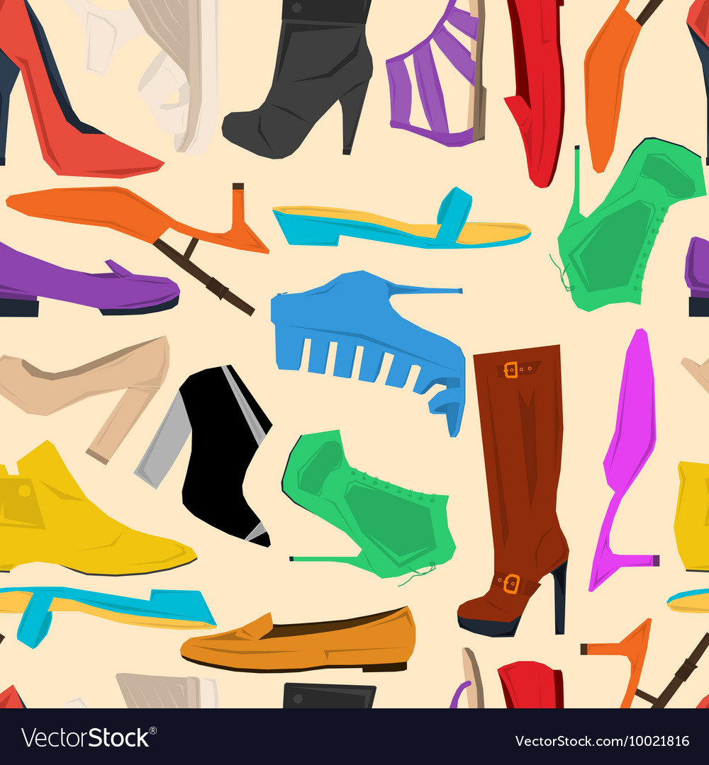 Seamless pattern of women shoes