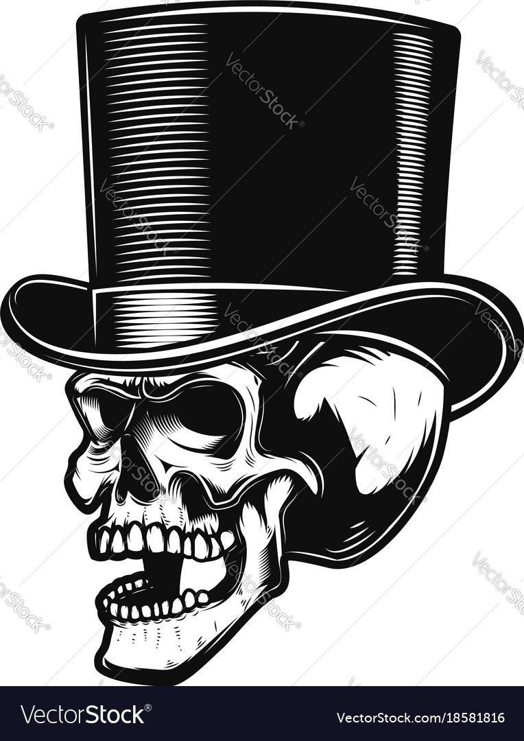 Skull in gentleman hat design element for poster