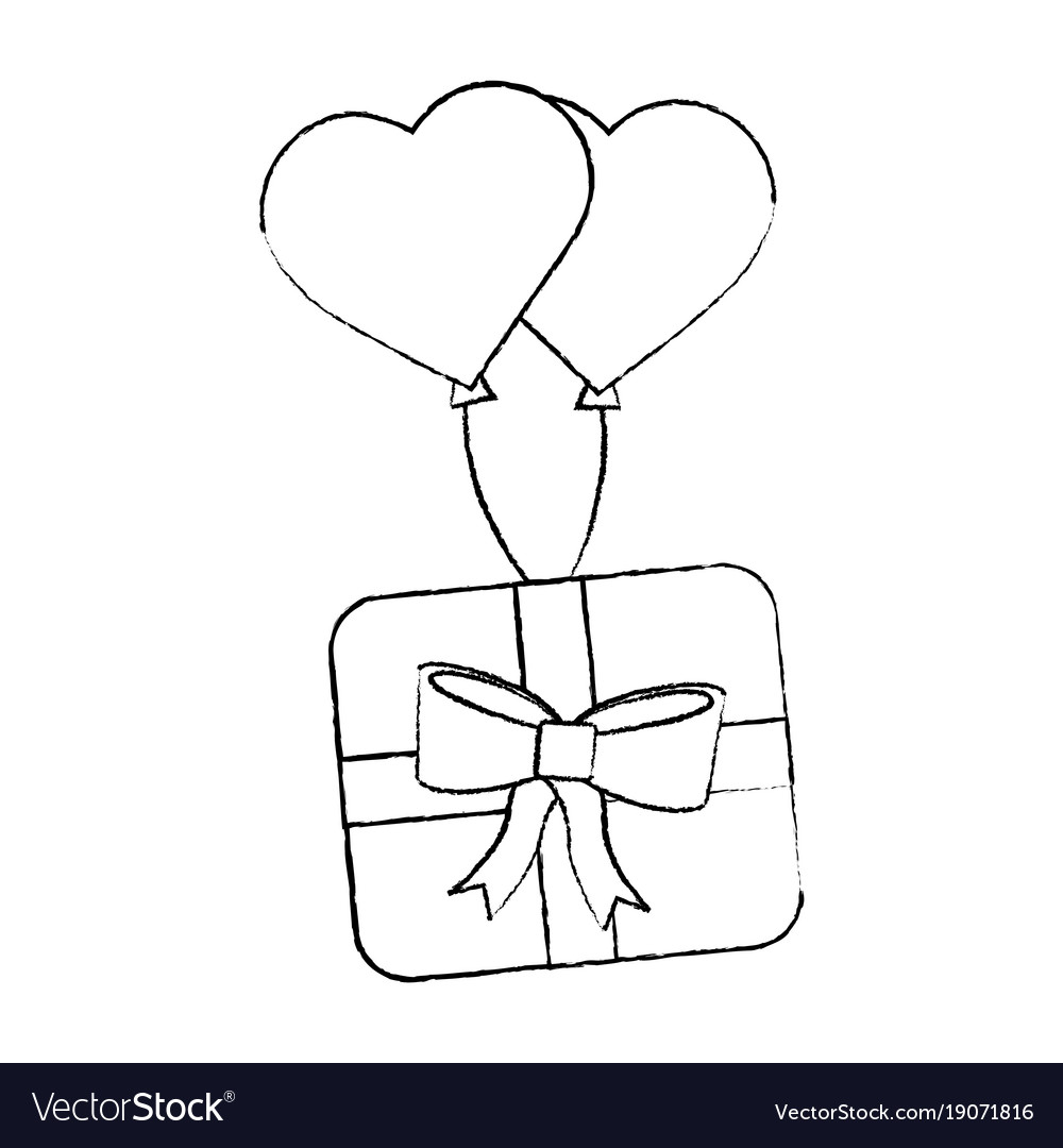Wrapped Gift Box Flying With Balloons Heart Vector Image