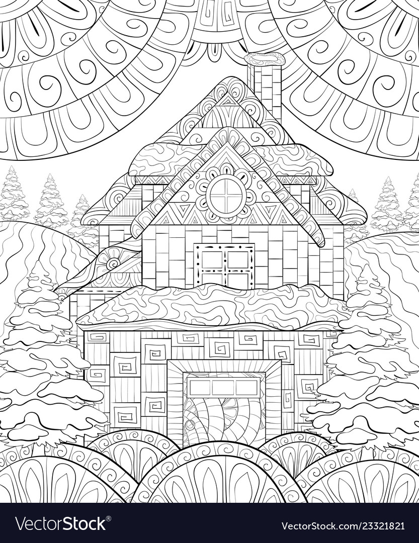 Adult Coloring Bookpage A Cute Winter Landscape Vector Image